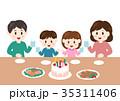 家族 クリスマス 誕生日のイラスト 35311406