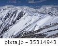 北アルプス・爺ヶ岳から望む雪の立山・剱岳 35314943
