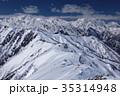 北アルプス・爺ヶ岳から望む雪の立山・剱岳 35314948