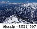 北アルプス・爺ヶ岳から見る蓮華岳・針ノ木岳と槍・穂高連峰遠望 35314997