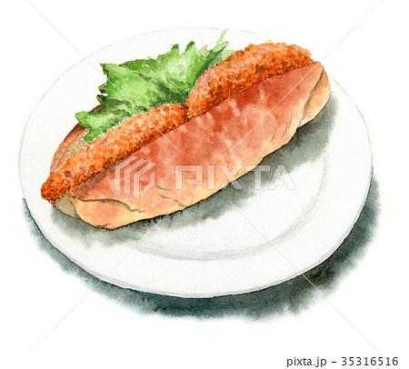 水彩で描いたコロッケサンドパン 35316516