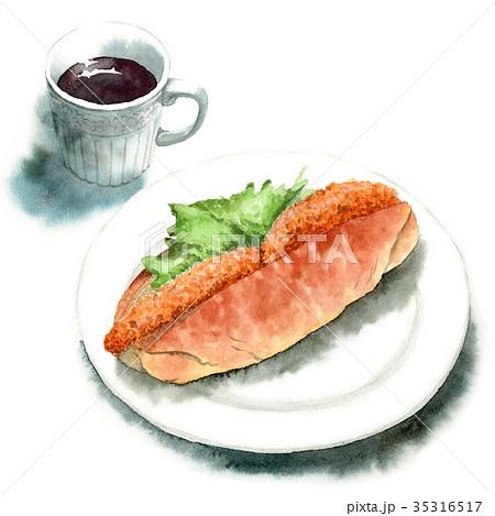 水彩で描いたコロッケサンドパンとコーヒー 35316517