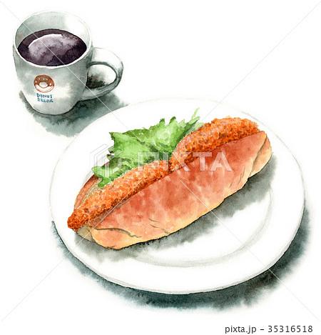 水彩で描いたコロッケサンドパンとコーヒー 35316518