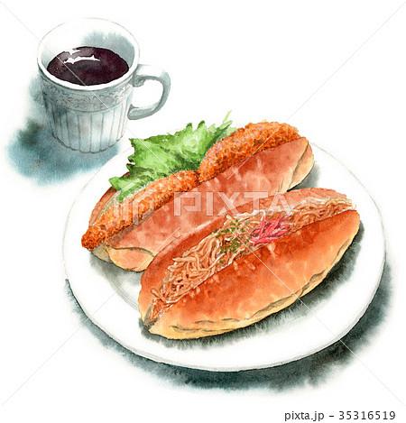 水彩で描いたロールサンドとコーヒー 35316519
