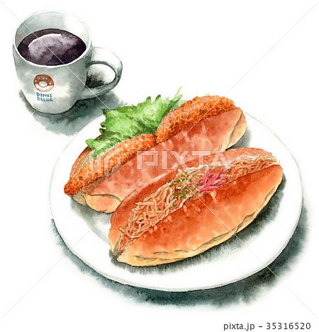 水彩で描いたロールサンドとコーヒー 35316520