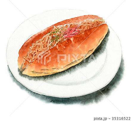 水彩で描いたやきそばロールパン 35316522