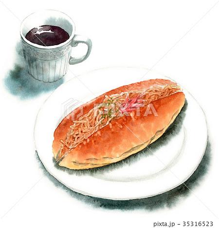 水彩で描いたやきそばロールパンとコーヒー 35316523