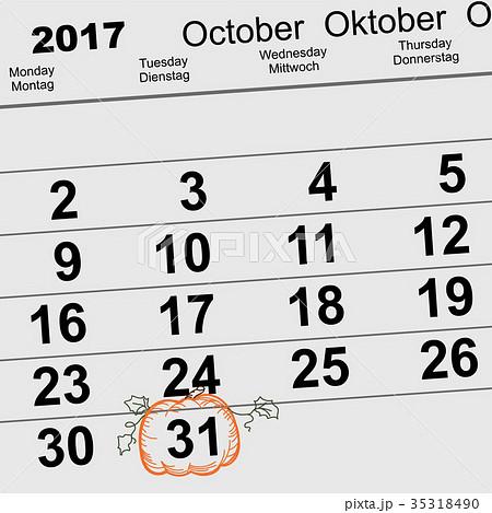 31 october 2017 halloween calendar date reminderのイラスト素材