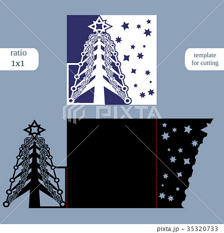 Laser cut christmas square card template 35320733