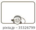 サンタクロースのクリスマスカード素材(白黒/モノクロ) 35326799