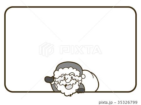 サンタクロースのクリスマスカード素材白黒モノクロのイラスト素材