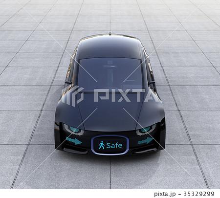 自動運転車のフロント部にデジタル情報表示で車と歩行者のコミュニケーションを図るコンセプト 35329299