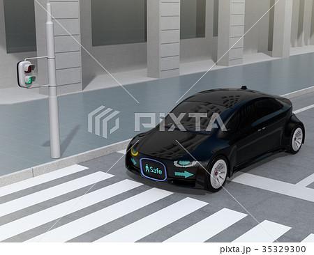 自動運転車フロント部に表示している安全通行のサインで車と歩行者のコミュニケーションを図るコンセプト 35329300
