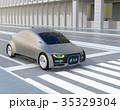 自動運転車フロント部に安全通行可能のサインで車と歩行者のコミュニケーションを図るコンセプト 35329304