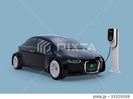 充電中の電気自動車のフロント部に充電状態が表示されている。車と人のコミュニケーションのコンセプト 35329309