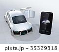電気自動車 自動運転 スマートフォンのイラスト 35329318