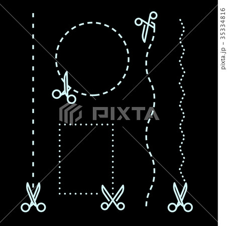 different scissors with cut lines templateのイラスト素材 35334816