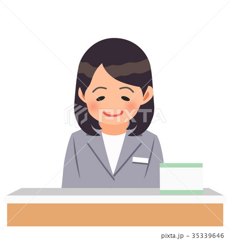 受付でお辞儀するグレーのスーツを着た女性 35339646