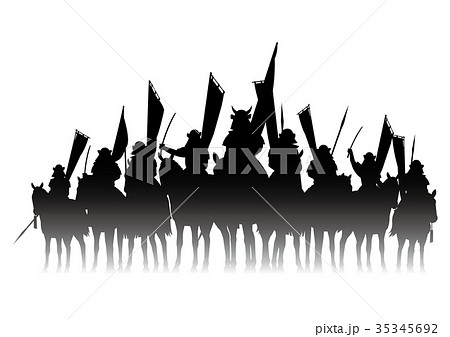 戦国時代の騎馬隊のイラスト素材 35345692 Pixta