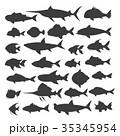魚 人影 影のイラスト 35345954