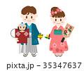 人物 子供 着物のイラスト 35347637