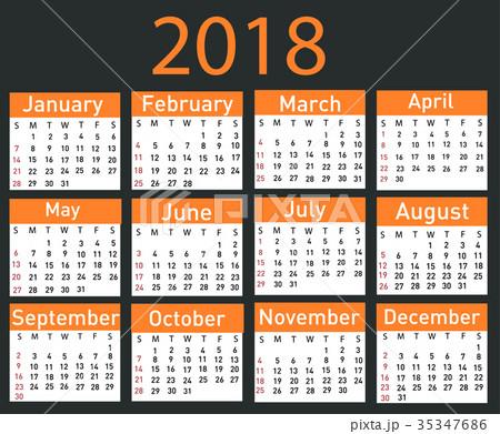 Calendar for 2018 vector illustration 35347686