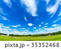 青空 テキストスペース 草原の写真 35352468