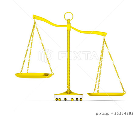 Balance scale over white background 35354293