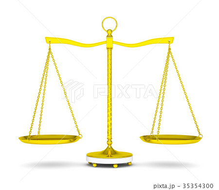 Balance scale over white background 35354300