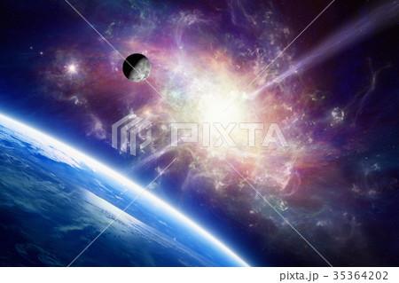 Moon orbits around Earth, spiral galaxy 35364202
