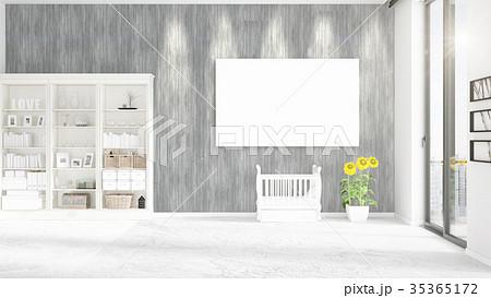 Fashionable modern loft interior with empty frame 35365172
