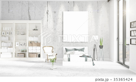 Fashionable modern loft interior with empty frame 35365424