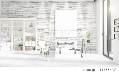 Fashionable modern loft interior with empty frame 35365437