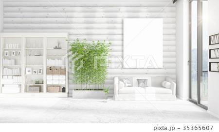 Fashionable modern loft interior with empty frame 35365607