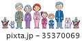 3世代家族和装とペットのお正月門松付き 35370069