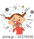 咳をする女の子 35374036