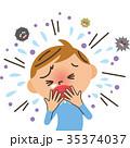咳をする男の子 35374037