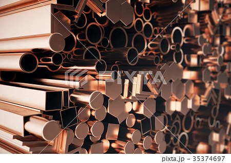 Cylindrical copper steel profiles, hexagonal 35374697