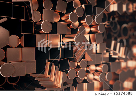 Cylindrical copper steel profiles, hexagonal 35374699