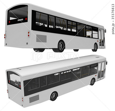 city bus template passenger transport 3dのイラスト素材 35376813