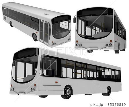 city bus template passenger transport 3dのイラスト素材 35376819