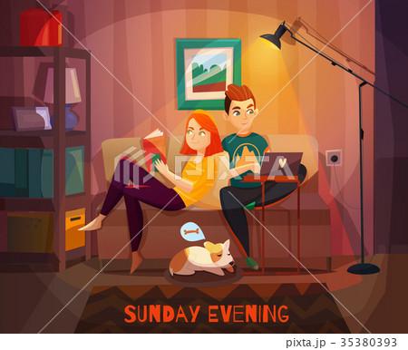 Evening Rest Of Couple Illustration 35380393