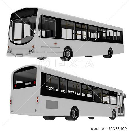 city bus template passenger transport 3dのイラスト素材 35383469