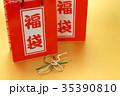 福袋と鶴の水引き飾り 35390810