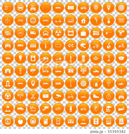 100 parking icons set orange 35393382