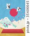日本イメージ 富士山 桜吹雪 和紙の風合い 35406645
