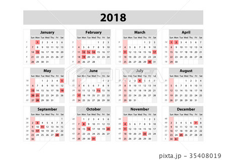 Calendar for 2018 Year. Vector Design Print  35408019