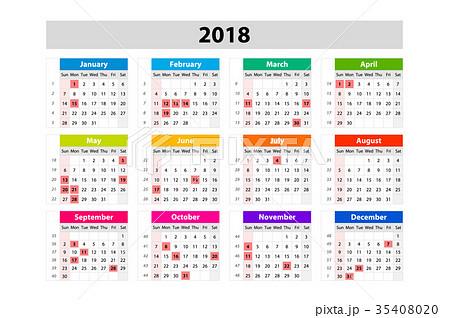USA Calendar for 2018. Scheduler, agenda 35408020