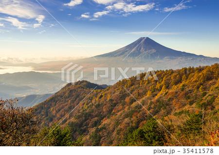 紅葉の三つ峠と富士山 早朝 35411578