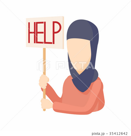 woman in hijab with help sign icon cartoon styleのイラスト素材